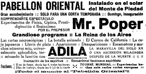 El señor Poper, experto espiritista, visitó Xixón a finales de 1920