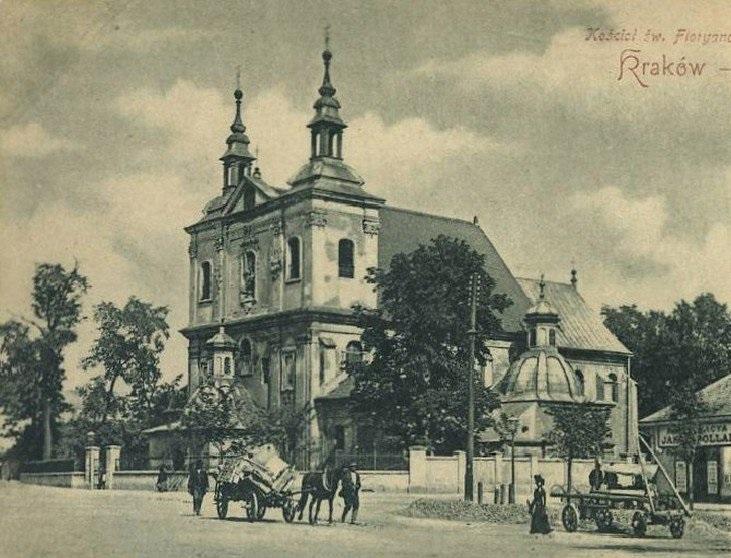 La iglesia de San Florián (un tanto achatada por la perspectiva), ya con su aspecto actual, en 1910.